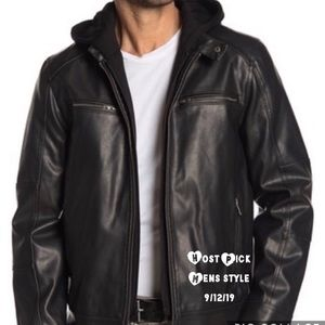 🍁 Mens Guess Hoodie Insert Faux Leather Jacket.